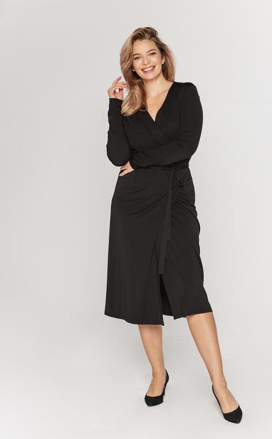 Czarna sukienka Lavard kopertowa midi z dzianiny