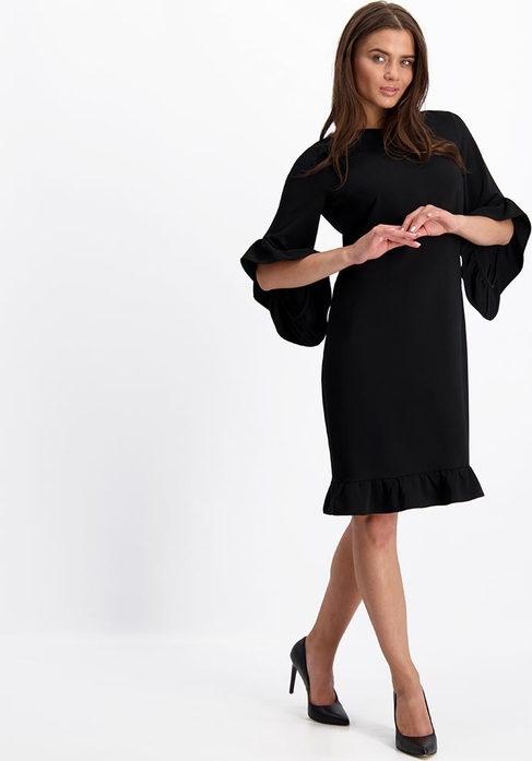 Czarna sukienka Lavard z długim rękawem z tkaniny