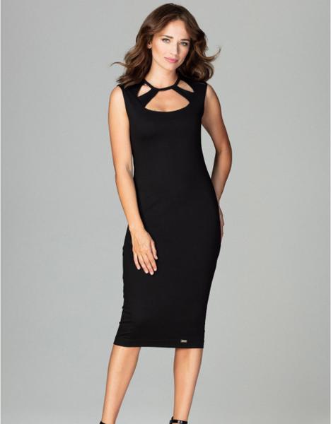 Czarna sukienka LENITIF midi