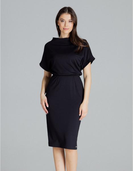 Czarna sukienka LENITIF z krótkim rękawem