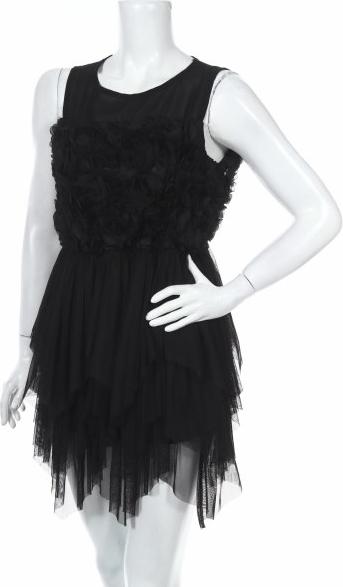 Czarna sukienka Lexxury bez rękawów z okrągłym dekoltem mini