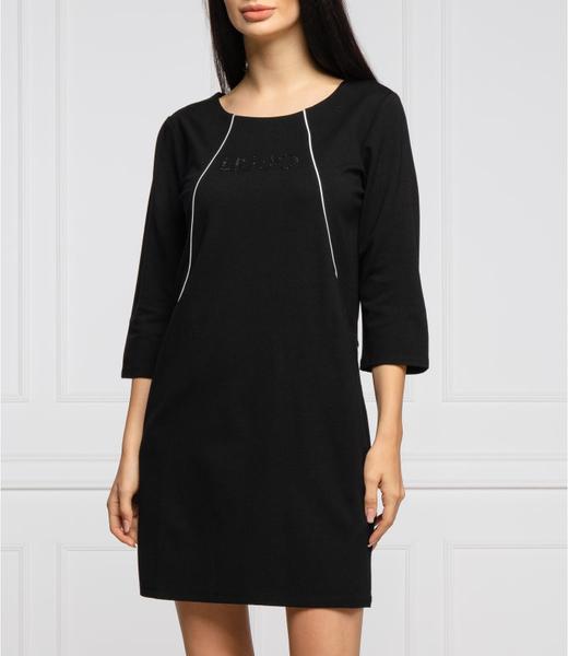 Czarna sukienka Liu-Jo prosta z długim rękawem