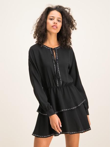 Czarna sukienka Liu-Jo w stylu casual z długim rękawem rozkloszowana