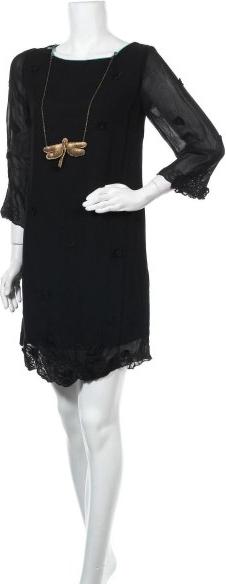 Czarna sukienka Lollipops z okrągłym dekoltem z długim rękawem prosta
