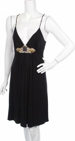Czarna sukienka Love & Love na ramiączkach z dekoltem w kształcie litery v mini