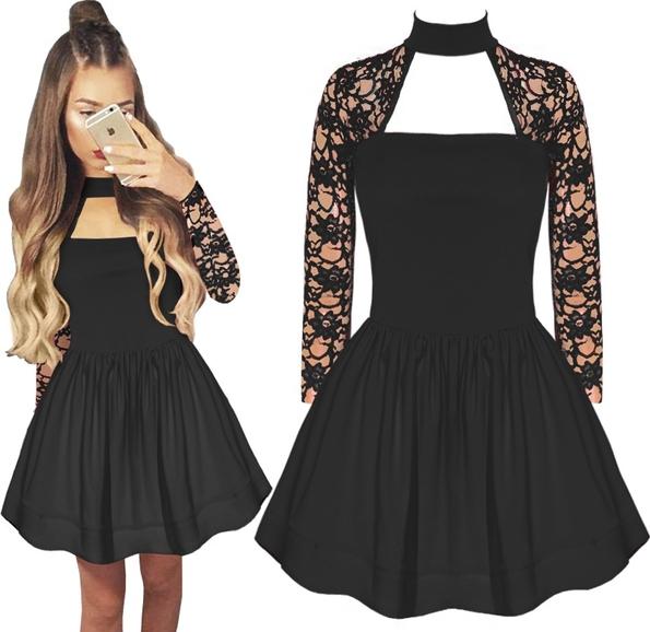 4286b49883 Czarna sukienka magmac mini w koronkowe wzory rozkloszowana
