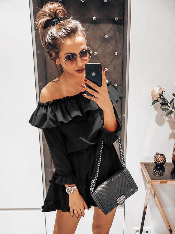 Czarna sukienka magmac.pl mini z długim rękawem