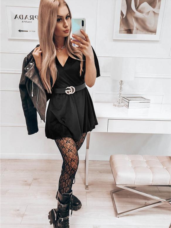 Czarna sukienka magmac.pl z bawełny bombka