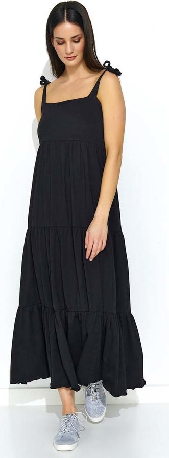 Czarna sukienka Makadamia maxi z bawełny na ramiączkach