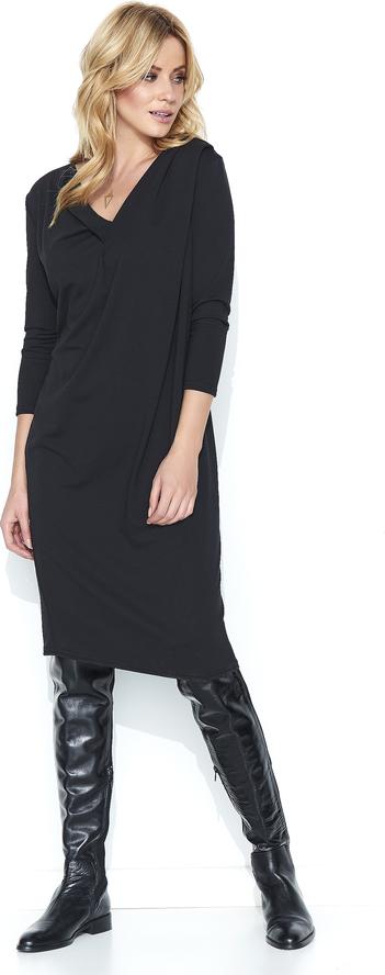 Czarna sukienka Makadamia z bawełny z długim rękawem