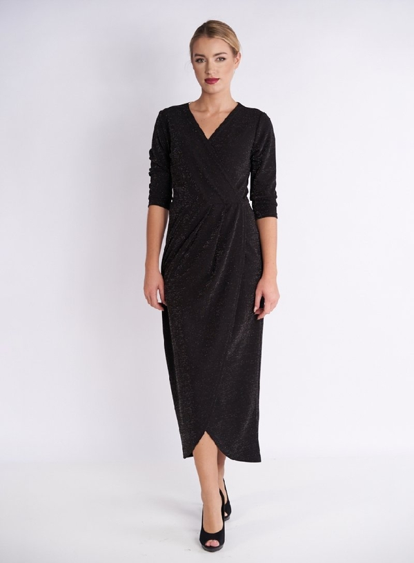 Czarna sukienka Metafora kopertowa z długim rękawem