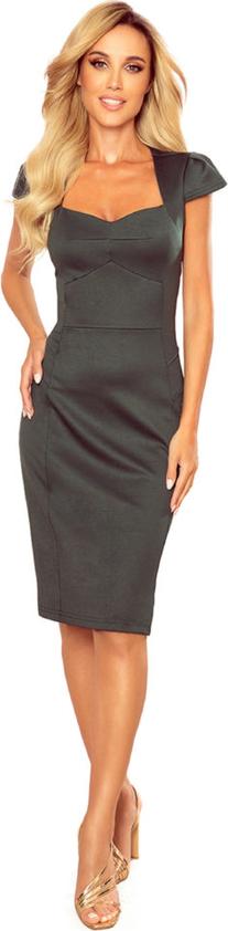 Czarna sukienka Moda Dla Ciebie dopasowana midi z krótkim rękawem