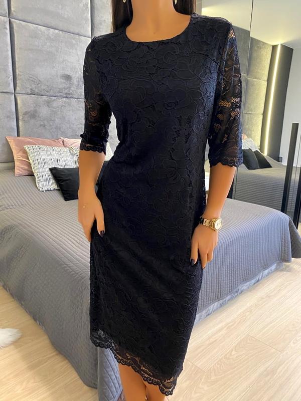 Czarna sukienka ModnaKiecka.pl w stylu casual z długim rękawem z okrągłym dekoltem
