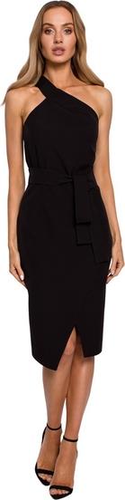 Czarna sukienka MOE bez rękawów midi asymetryczna
