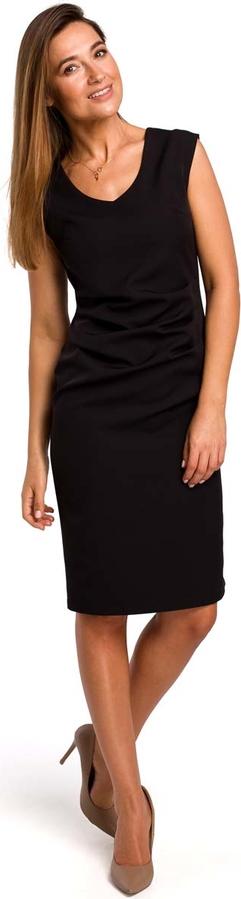 Czarna sukienka MOE midi dopasowana bez rękawów