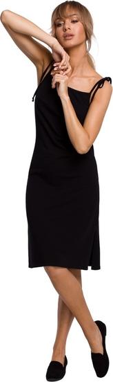 Czarna sukienka MOE midi na ramiączkach