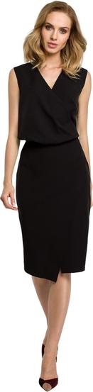 Czarna sukienka MOE midi z tkaniny z dekoltem w kształcie litery v