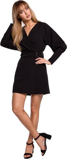 Czarna sukienka MOE mini z długim rękawem z tkaniny