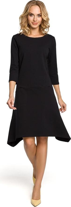 Czarna sukienka MOE w stylu casual midi