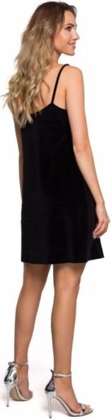 Czarna sukienka MOE z dekoltem w kształcie litery v mini na ramiączkach