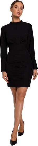 Czarna sukienka MOE z długim rękawem z tkaniny