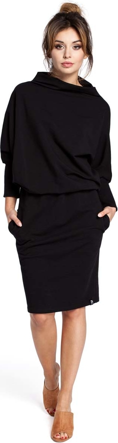 Czarna sukienka MOE z golfem midi