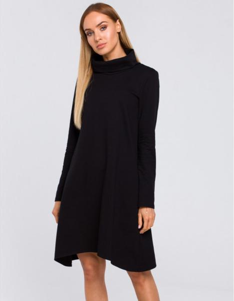 Czarna sukienka MOE z golfem z długim rękawem