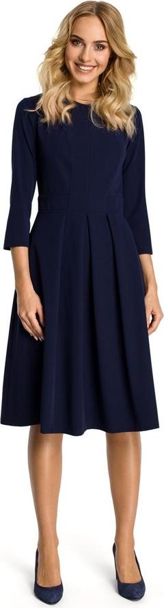 Czarna sukienka MOE z okrągłym dekoltem z długim rękawem