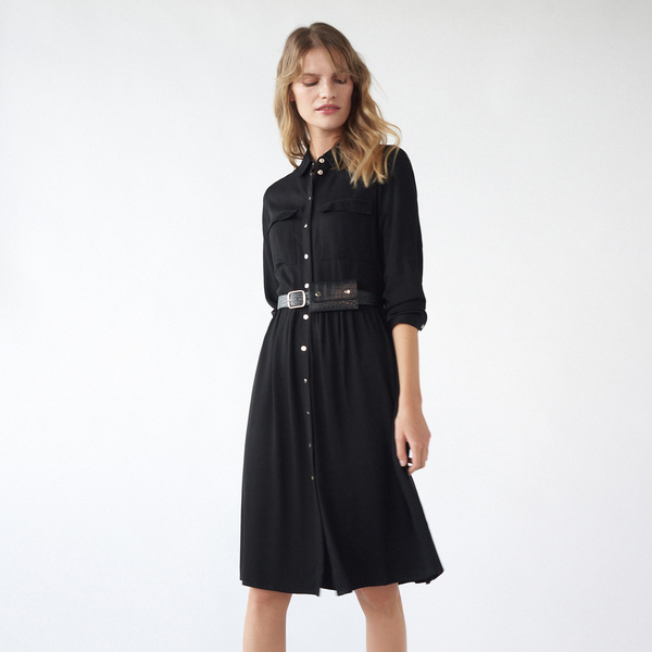 Czarna sukienka Mohito z długim rękawem szmizjerka