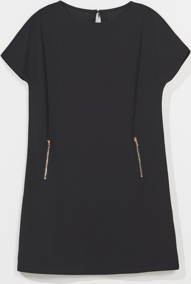 Czarna sukienka Mohito z okrągłym dekoltem trapezowa z krótkim rękawem