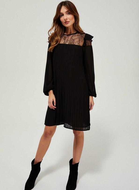 Czarna sukienka Moodo z długim rękawem