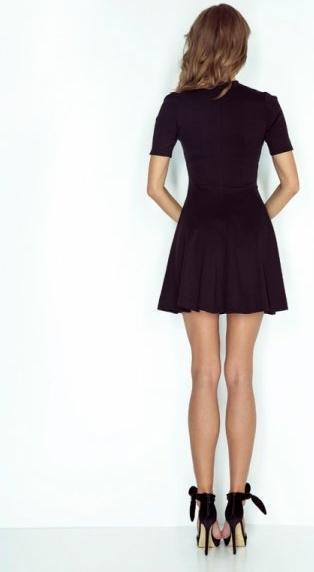 Czarna sukienka MORIMIA mini z krótkim rękawem z okrągłym dekoltem