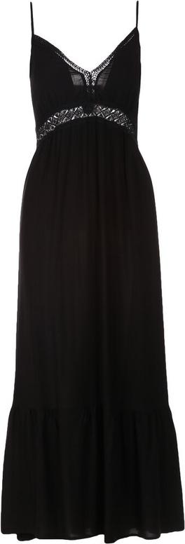 Czarna sukienka Multu z dekoltem w kształcie litery v maxi