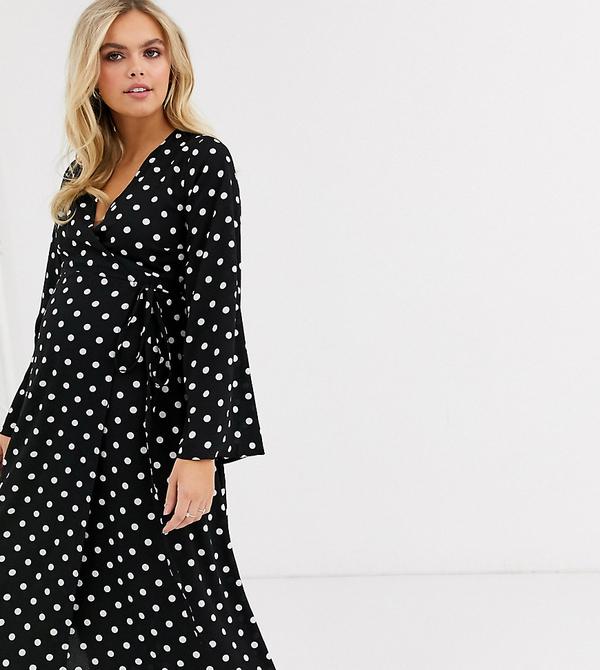 Czarna sukienka New Look Maternity z długim rękawem