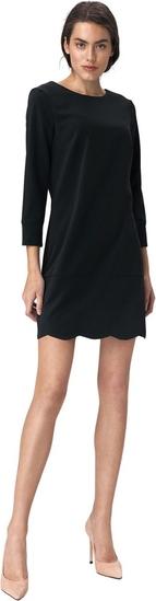 Czarna sukienka Nife z okrągłym dekoltem z długim rękawem