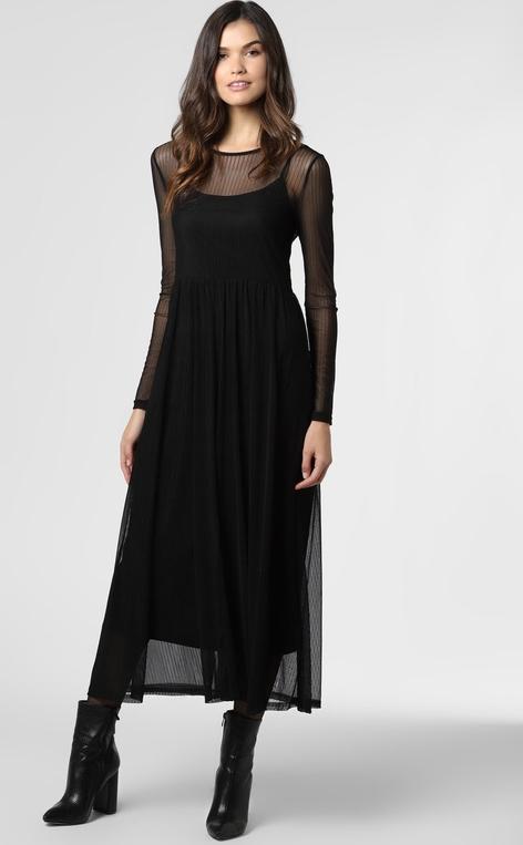 Czarna sukienka Noisy May maxi z długim rękawem