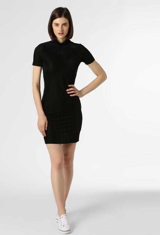 Czarna sukienka Noisy May mini dopasowana z krótkim rękawem
