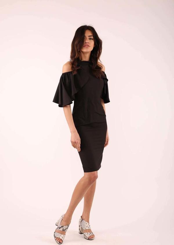 Czarna sukienka Nommo midi dopasowana