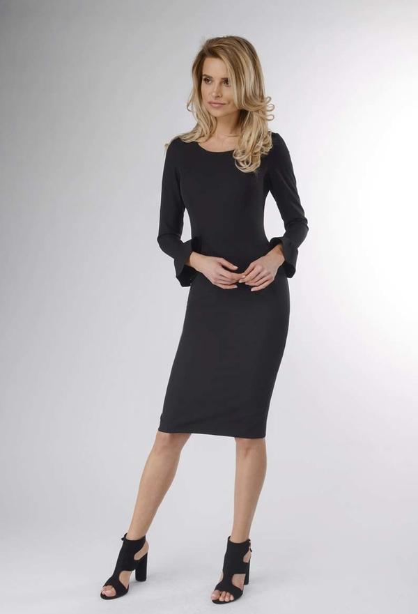 Czarna sukienka Nommo ołówkowa z okrągłym dekoltem midi