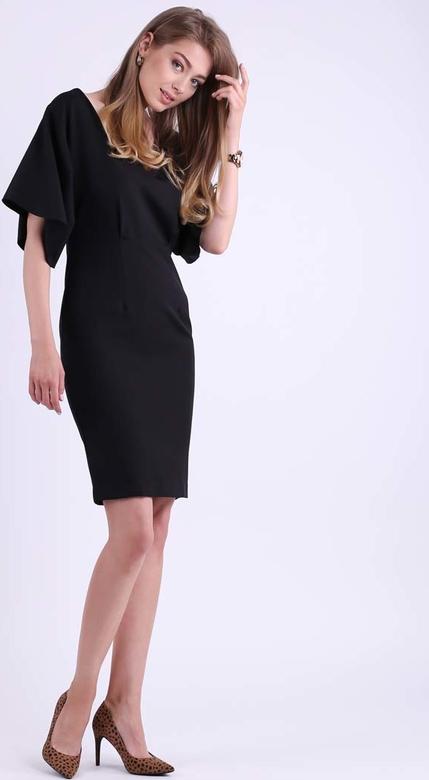 Czarna sukienka Nommo z krótkim rękawem dopasowana