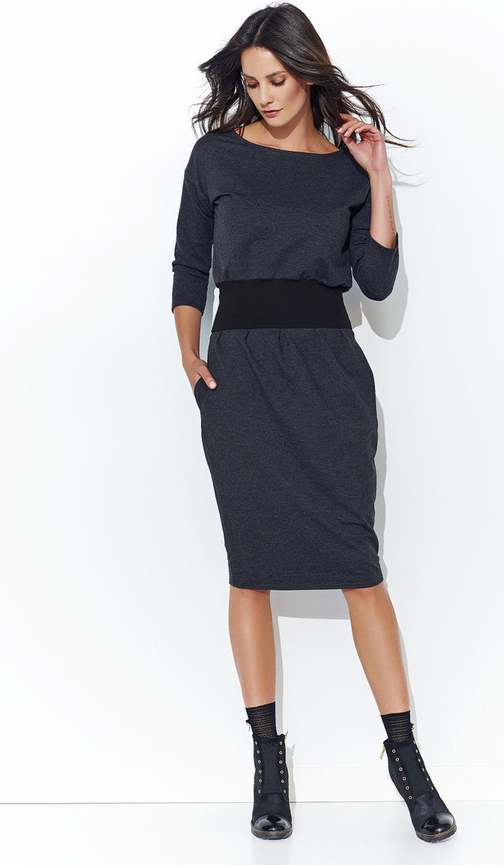 Czarna sukienka Numinou z długim rękawem
