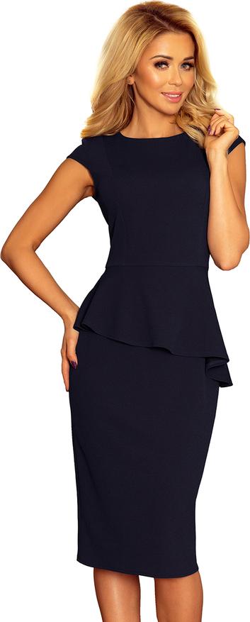 Czarna sukienka NUMOCO baskinka z krótkim rękawem