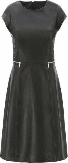 3169c5c13b442 Czarna sukienka ochnik ze skóry