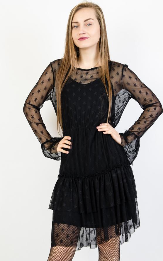 Czarna sukienka Olika mini z okrągłym dekoltem z długim rękawem