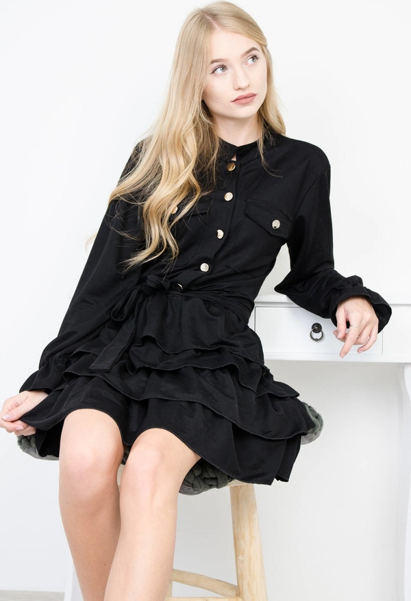 Czarna sukienka Olika z długim rękawem