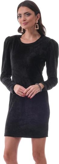 Czarna sukienka Ooh la la z długim rękawem z okrągłym dekoltem mini