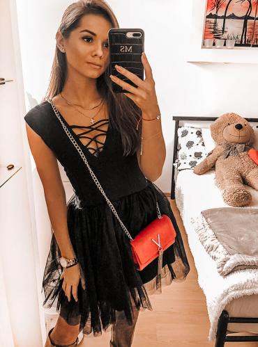 Czarna sukienka Pakuten mini z bawełny