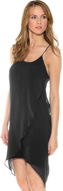 Czarna sukienka Pepe Jeans z okrągłym dekoltem asymetryczna