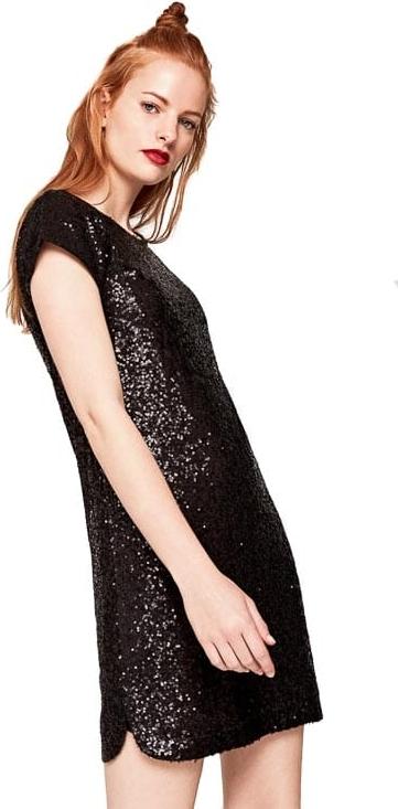 Czarna sukienka Pepe Jeans z okrągłym dekoltem mini w stylu glamour