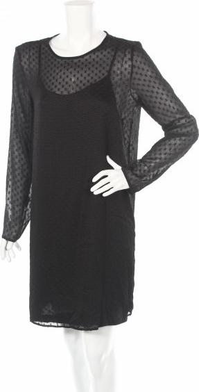 Czarna sukienka Pieces z długim rękawem mini z okrągłym dekoltem